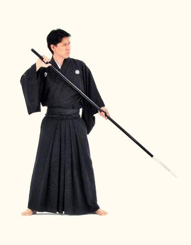 Sensei com Yari, a lança dos Samurai